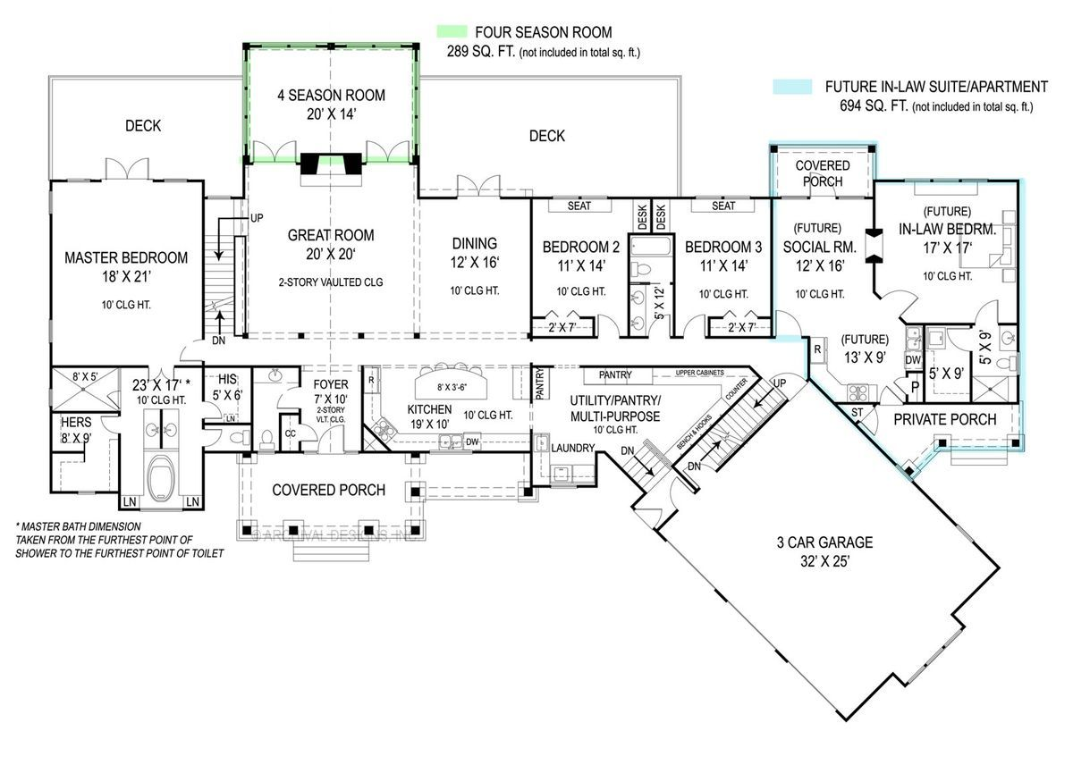 House Plan 9020 Features A Full In Law Apartment With Private Front Porch,  Laundry