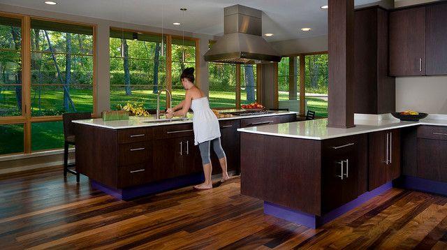 Modern Kitchen With Dark Cabinets And View Of Greenery Modern Mesmerizing Kitchen Designs Dark Cabinets 2018
