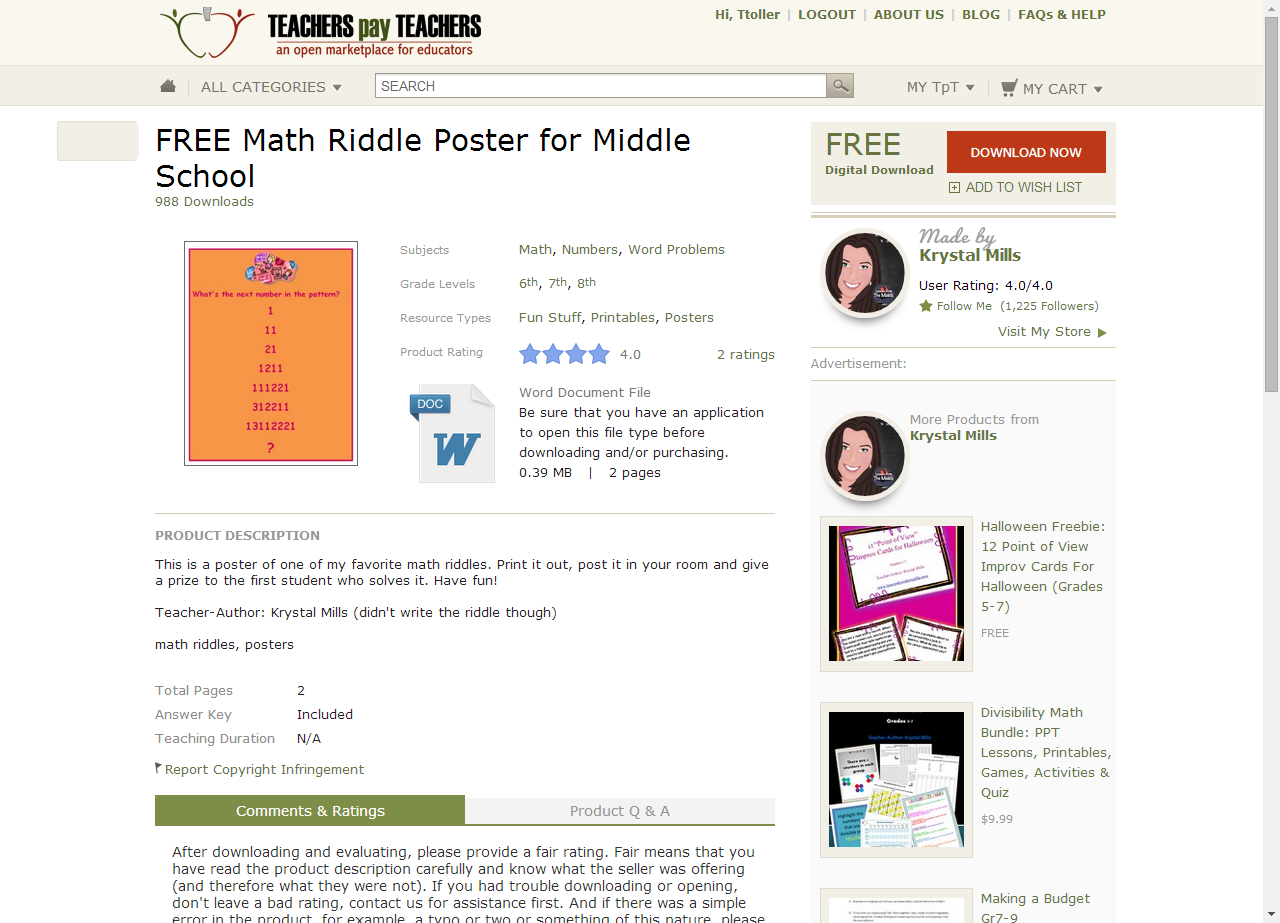 FREE MATH RIDDLE POSTER FOR MIDDLE SCHOOL - TeachersPayTeachers.com ...