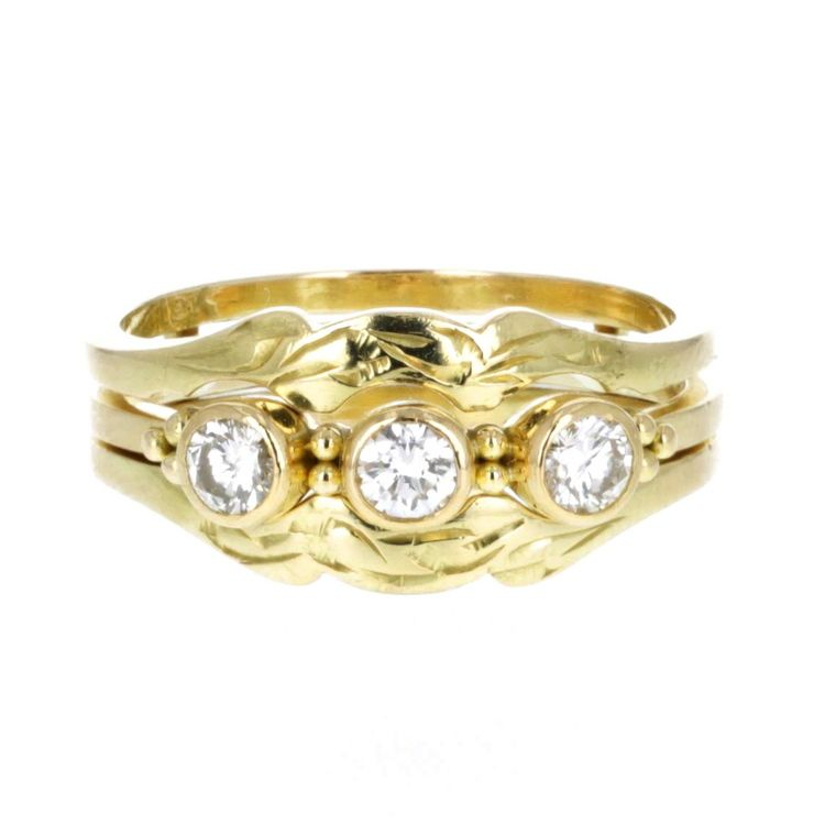 9c8a776f381 BEZEL SET THREE-STONE RING AND GUARD