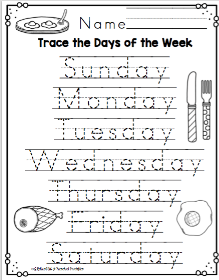 Days Of The Week With The Cat In The Hat No Prep Preschool Printables Preschool Writing English Worksheets For Kids Free Kindergarten Worksheets