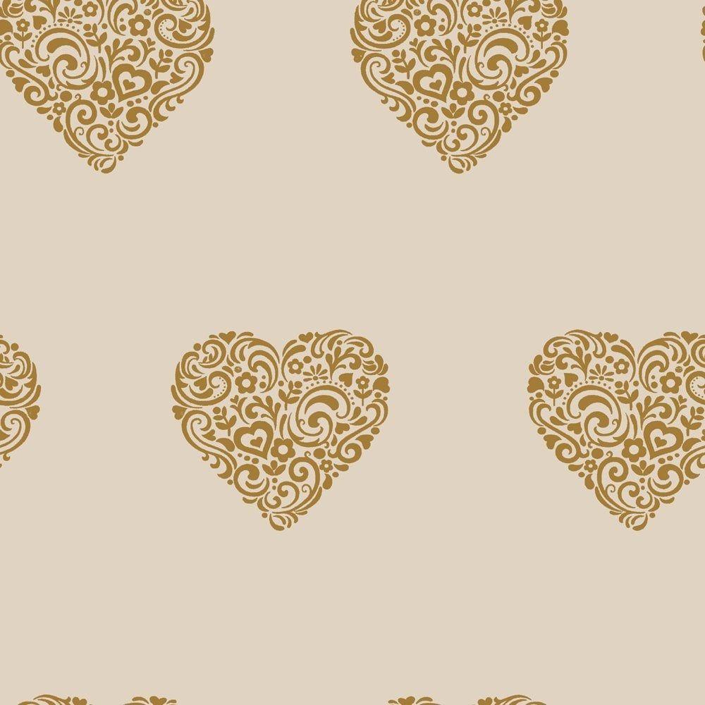 I Love Wallpaper Shimmer Hearts Wallpaper Mushroom Gold