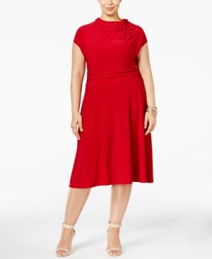 7d0a9c83189 Love Squared Plus Size Tie-Neck A-Line Dress - Red 1X