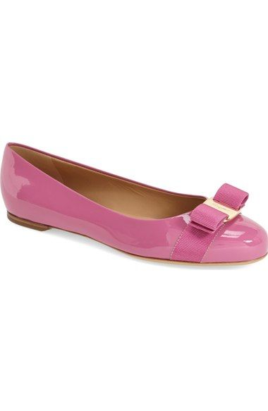 Salvatore Ferragamo Varina Anemone Patent Leather Ballet Flats Size 10 B