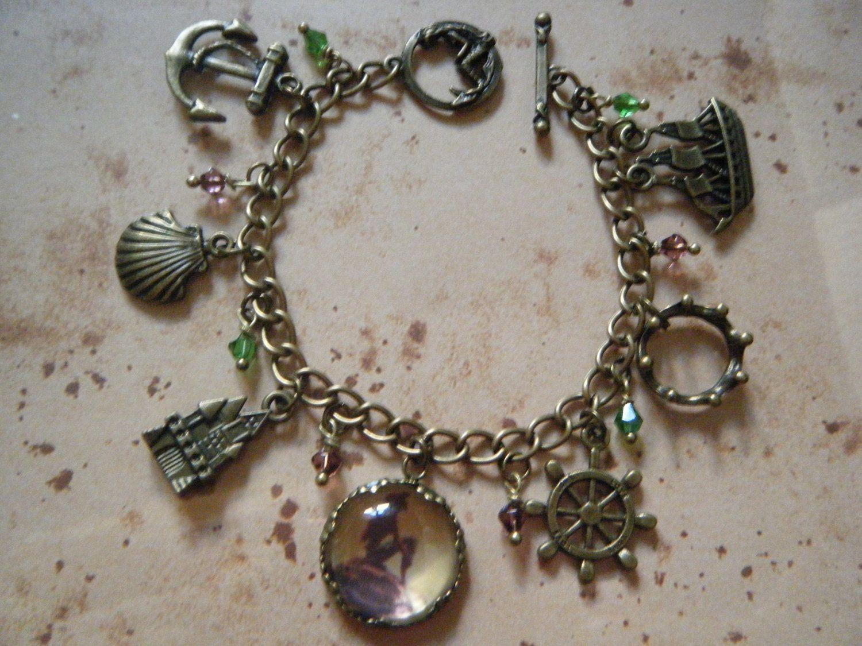deluxe mermaid ariel vintage charm bracelet 163 25 00