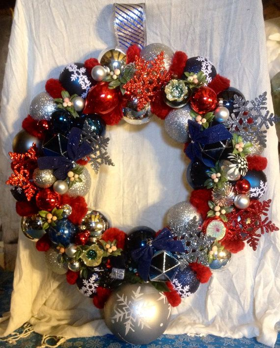 Red White And Blue Christmas Wreath Patriotic Christmas Decorations Vintage Ornament Wreath Christmas Wreaths