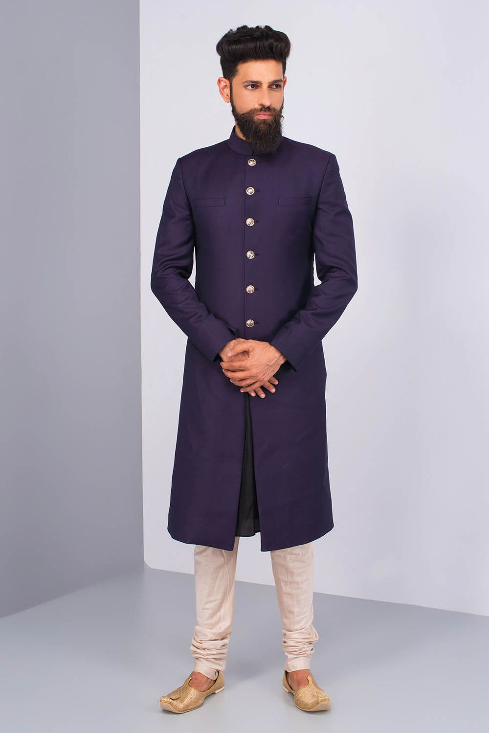 08da0a884ea95c NOT JUST BLACK Dark Purple Sherwani With Black Kurta And Ivory Chudidar # flyrobe #groom #groomwear #groomsherwani #sherwani #flyrobe #wedding # ...