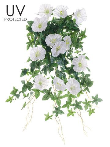 """UV Protected Outdoor Morning Glory Hanging Bush in Cream Outdoor Artificial Flowers 20"""" Long"""