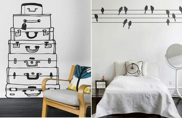 Wandtattoos und Wandsticker schlafzimmer vogel koffer - wandtattoos für schlafzimmer