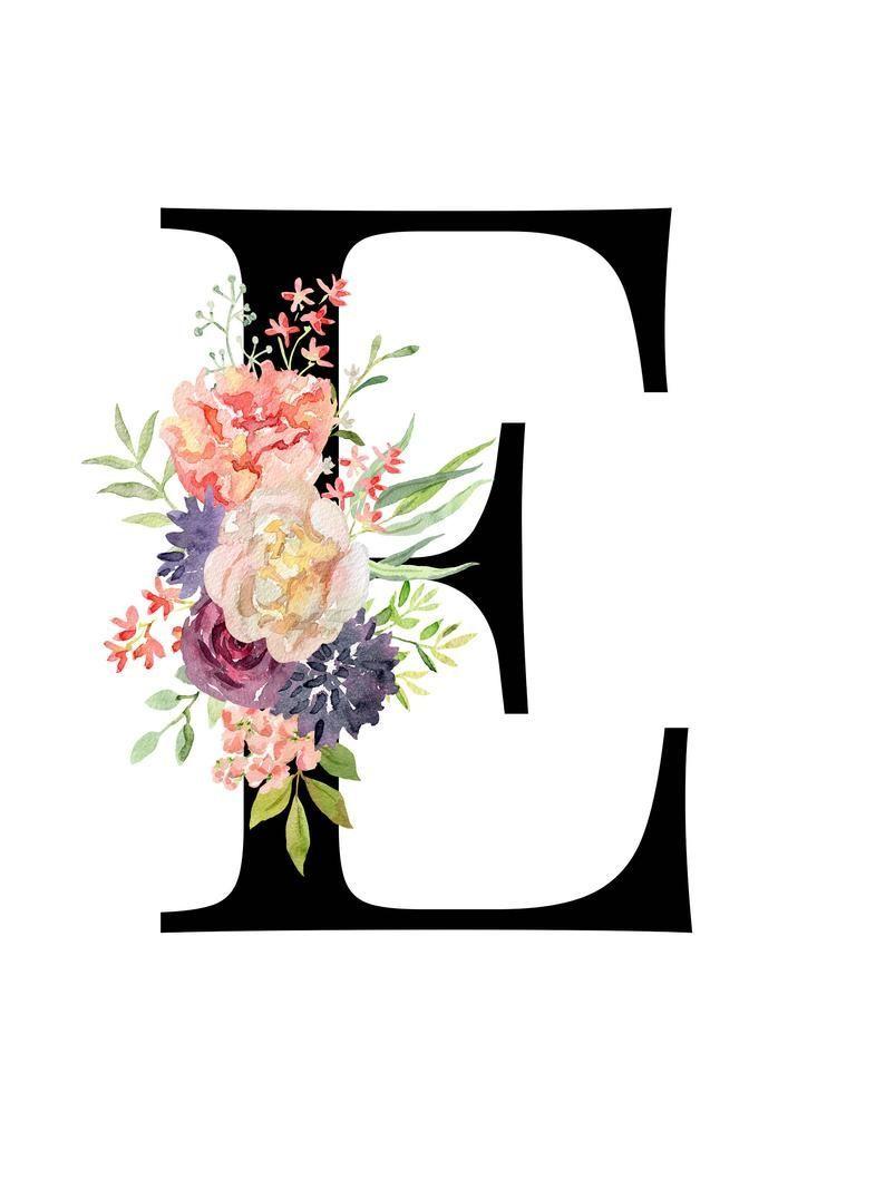 Lettre E Floral monogramme Lettre imprimable Art de la chambre de bébé Impressions artis Lettre E Floral monogramme Lettre imprimable Art de la chambre de b...