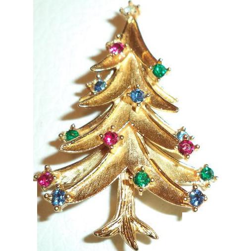Signed Crown Trifari Merry Christmas Tree Pin