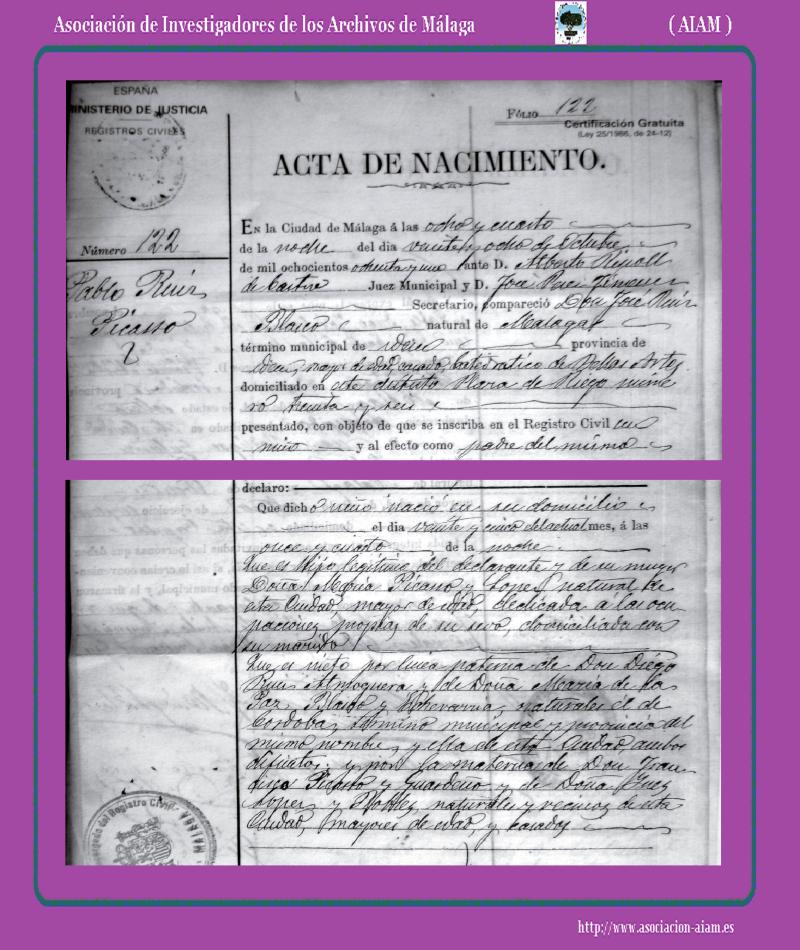 Acta de nacimiento del pintor Pablo Ruíz Picasso. Fot. Asoc. de ...