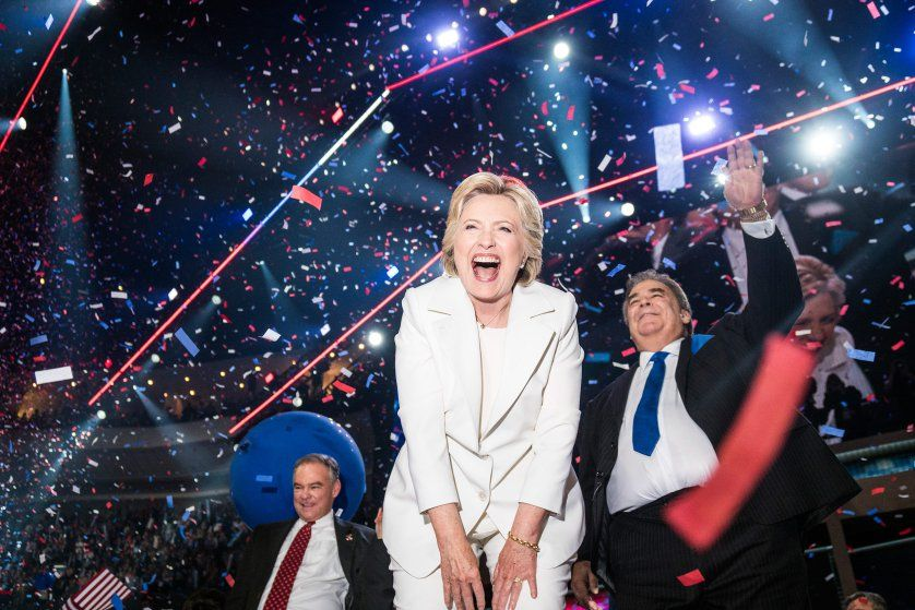 "An ecstatic Hillary Clinton celebrates at the conclusion of the Democratic National Convention where she accepted the nomination in Philadelphia, on July 28, 2016.<br><br>From <a href=""http://time.com/4559436/best-political-photographs/"">""The 82 Most Unforgettable Photos From the Election""</a>"