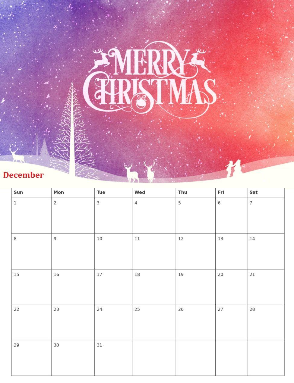 Christmas December 2019 Calendar Printable Cute December 2019 Christmas Calendar | Calendar 2018 | Christmas