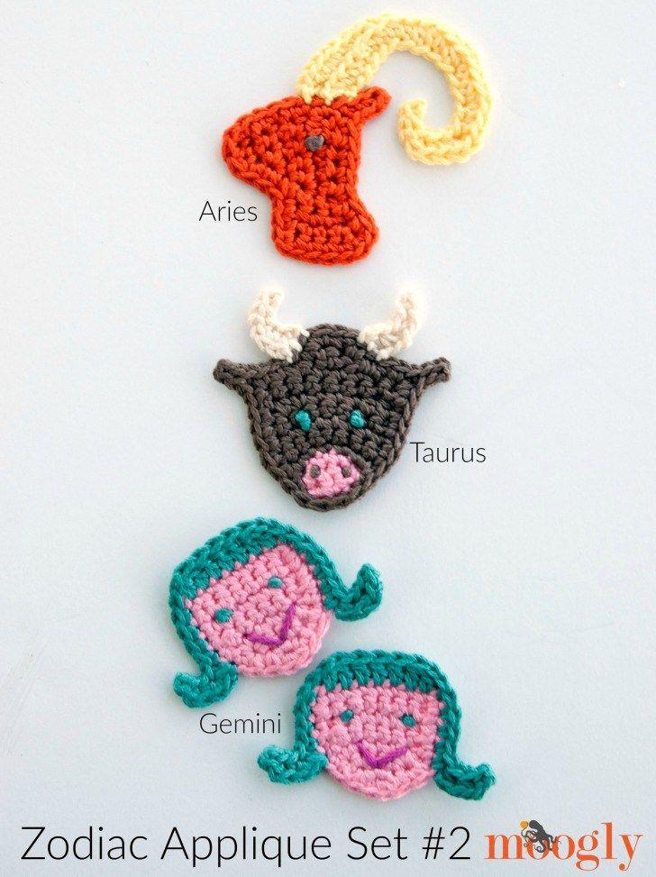 Zodiac Crochet Appliques Set | Crochet Appliques | Pinterest
