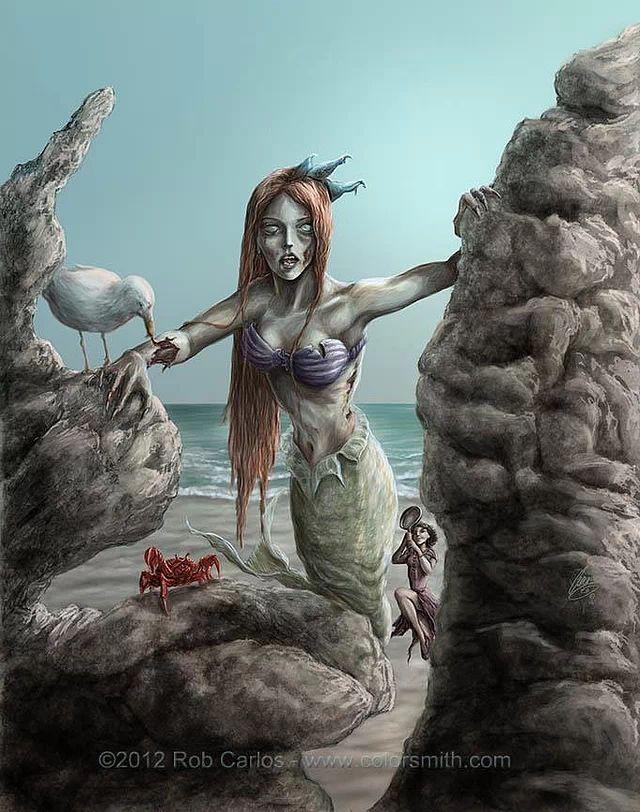 Disney Princess Zombie Little Mermaid (Ariel) by Rob Carlos #disney #artwork #fanart