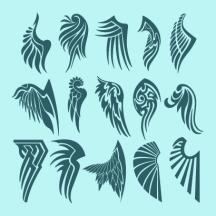 天使の羽根鳥の翼タトゥートライバル ベクターイラスト素材