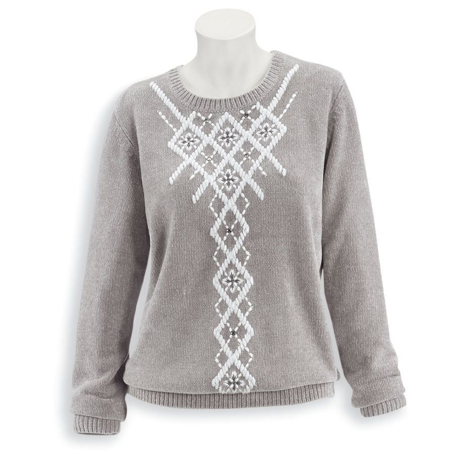 Sparkling Argyle Chenille Sweater - Women's Clothing – Casual, Comfortable & Colorful Styles – Plus Sizes