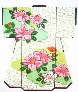 Lee's Needle Arts Hibiscus & Green Swirls Kimono 18M 8in. x 10in.