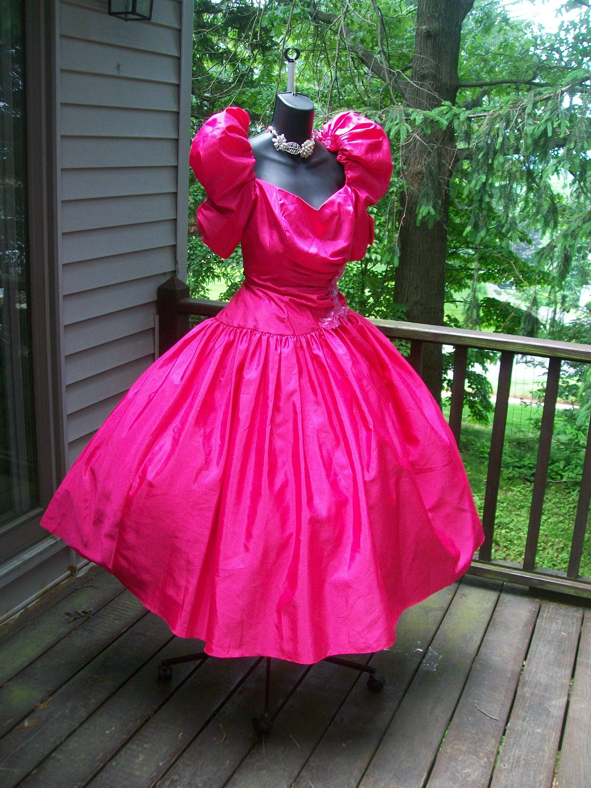 851723a10232 80s prom dress come check me out on ebay Pink Gowns, Satin Dresses, Unique