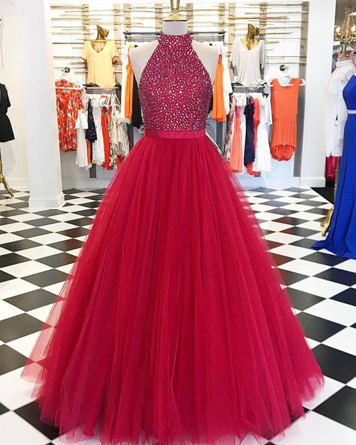 2019 Red Tulle Strapless Beaded Long Puffy Prom Dress