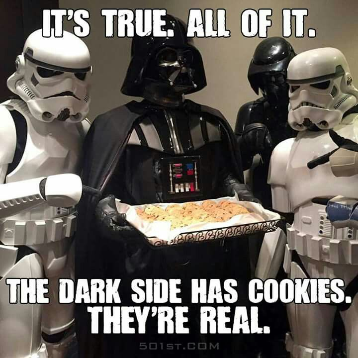 Come To The Dark Side We Have Cookies Funny Star Wars Memes Star Wars Humor Star Wars Memes