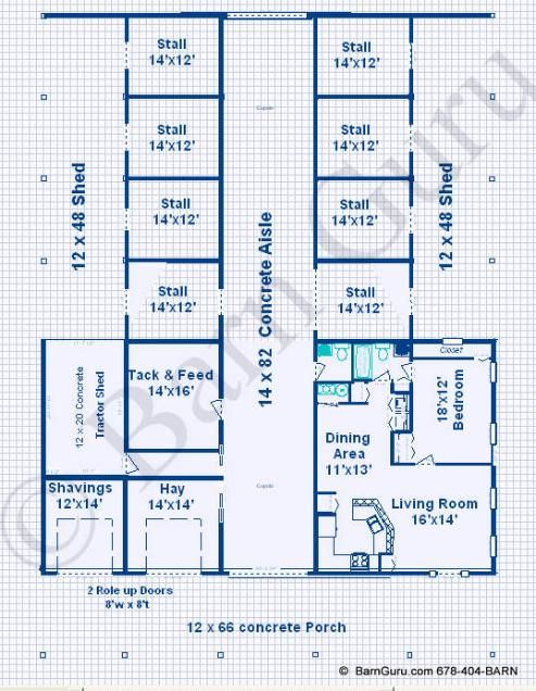 8 stall horse barn with living quarters design plan ga for Horse stable blueprints