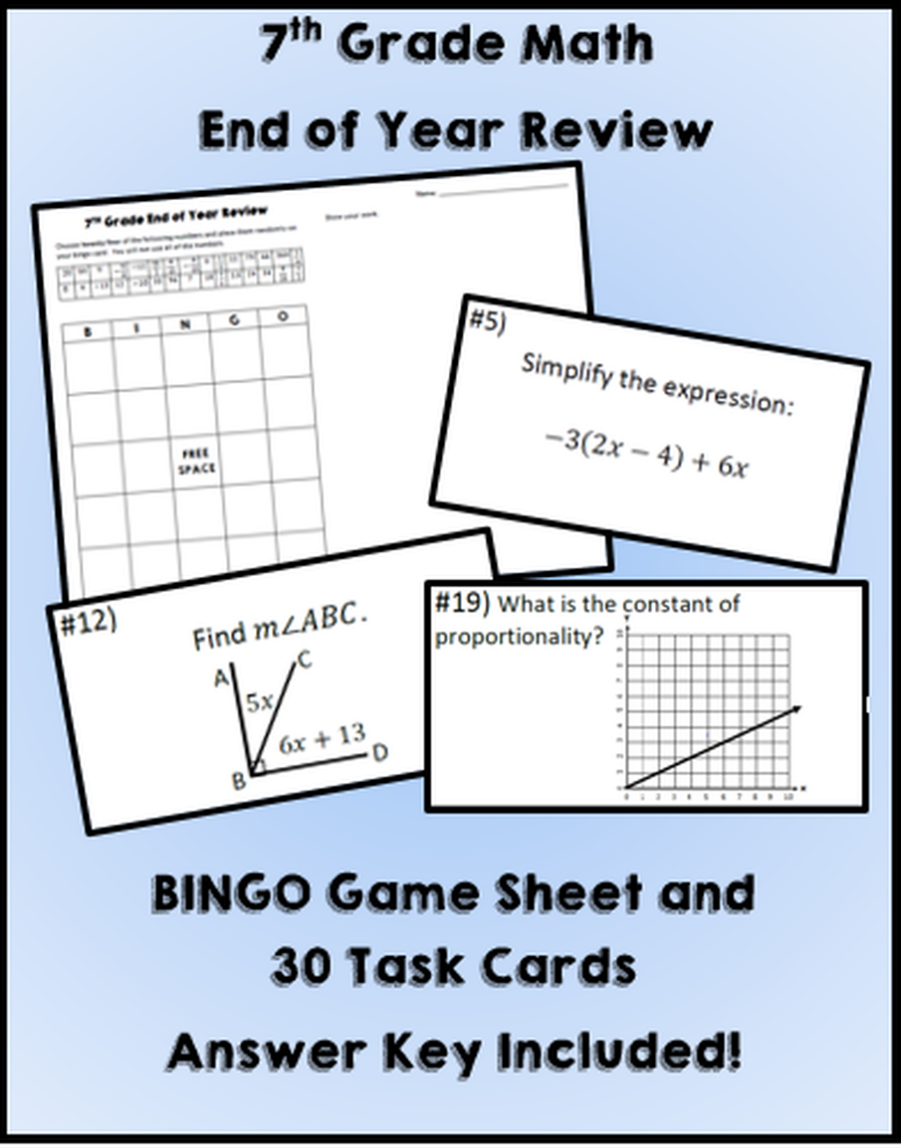 This is a photo of Nerdy 7th Grade Math Bingo Printable