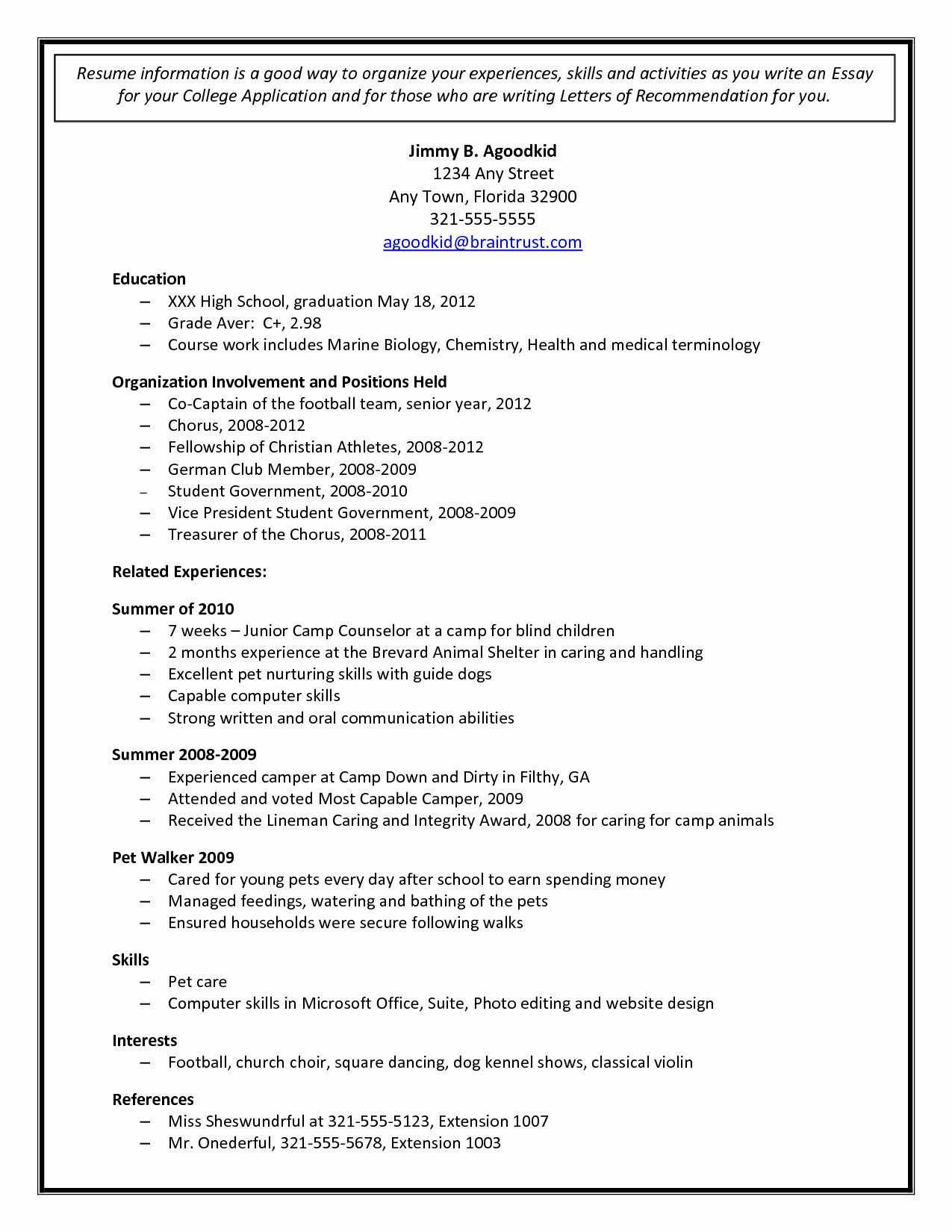 College Admissions Resume Templates New College Admission