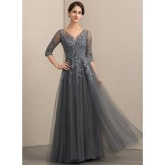 f8744dde297 A-Linie V-Ausschnitt Bodenlang Tüll Spitze Kleid für die Brautmutter mit  Perlstickerei Pailletten (008152148)