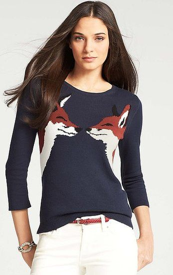 Sweetheart foxes make this Ann Taylor Kissing Fox Sweater ($78) even sweeter. #fallfashion
