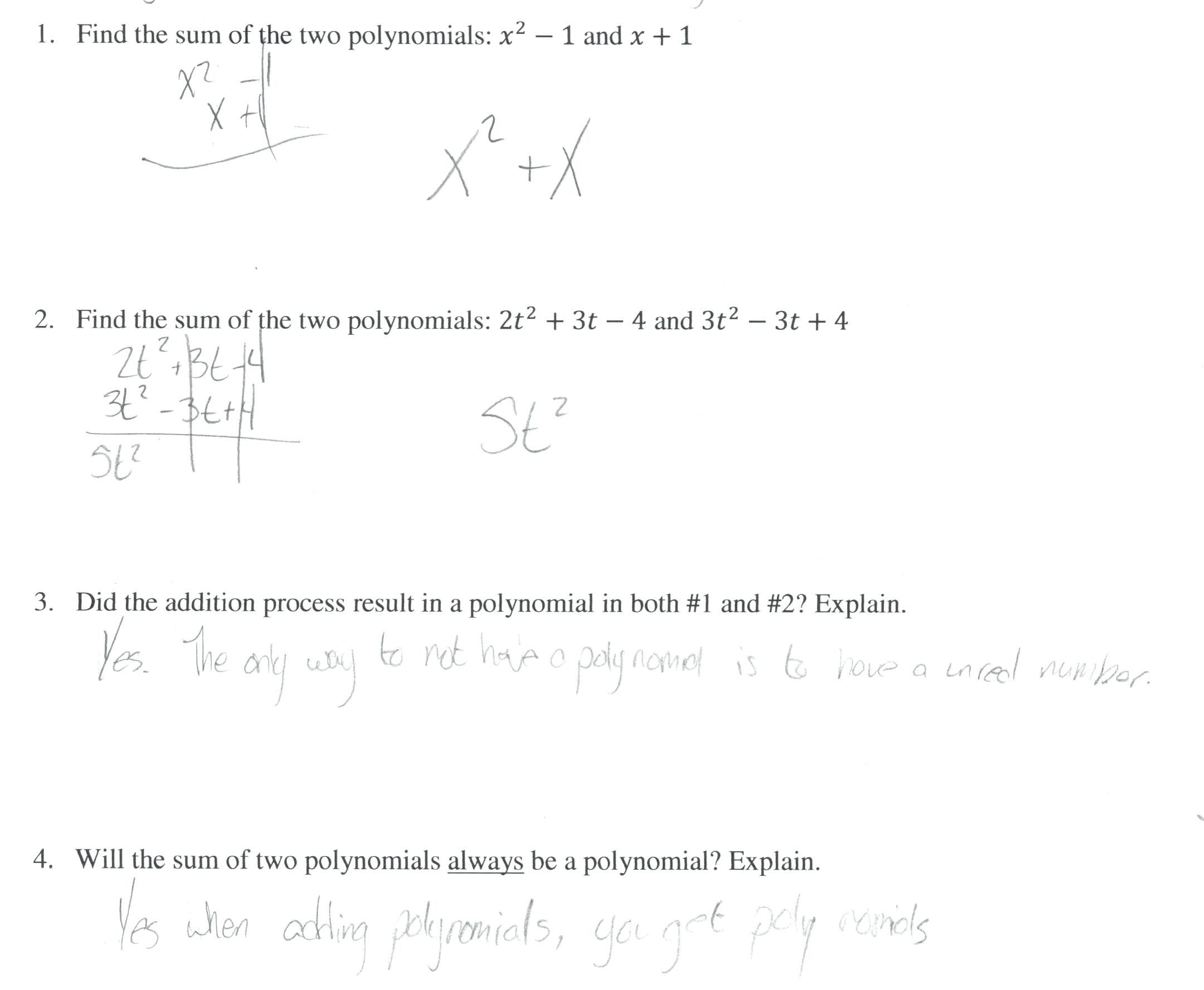 Formal Dividing Polynomials Worksheet