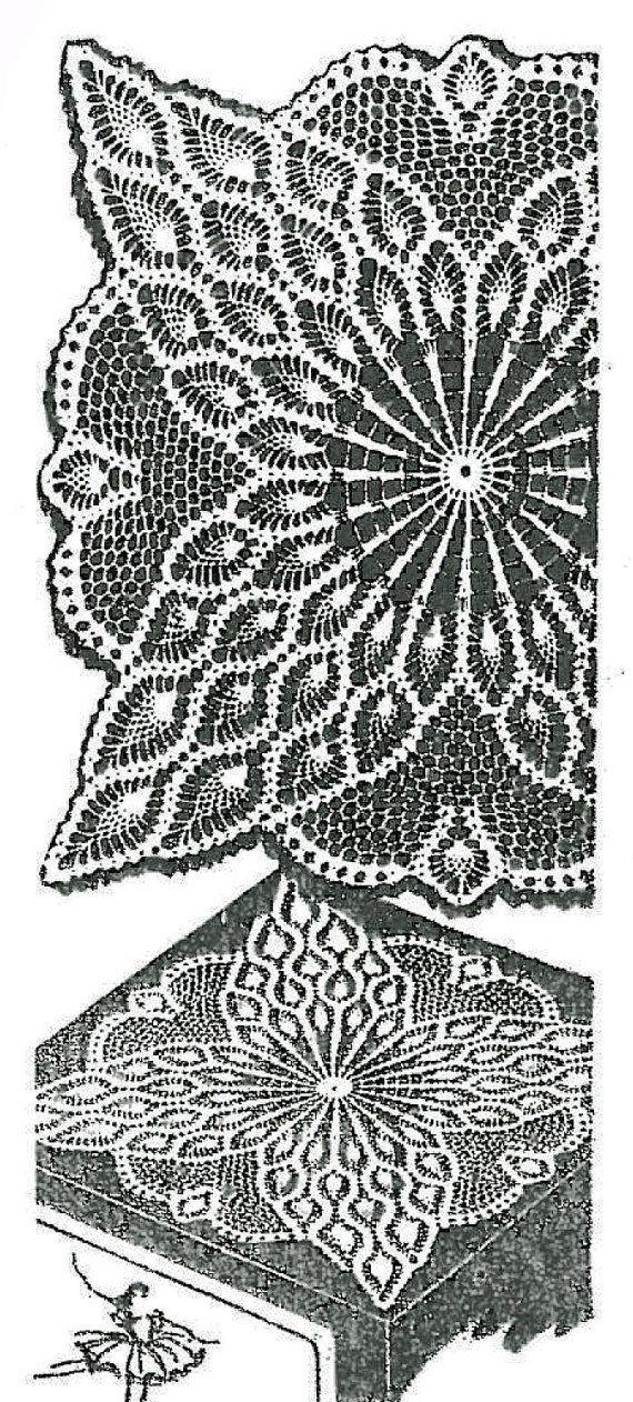 Old Crochet Pattern 7363 Square Doily Tv Cover Pineapple Design