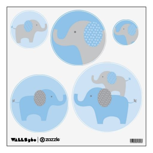 Mod Blue Grey Elephant Wall Stickers Decals  Click on photo to purchase. Check out all current coupon offers and save! http://www.zazzle.com/coupons?rf=238785193994622463&tc=pin