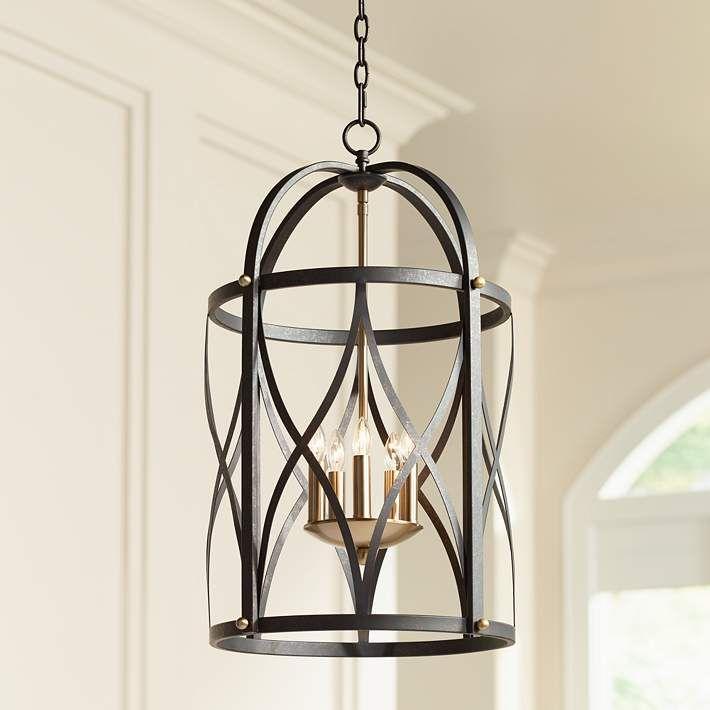 16 wide dark bronze foyer chandelier