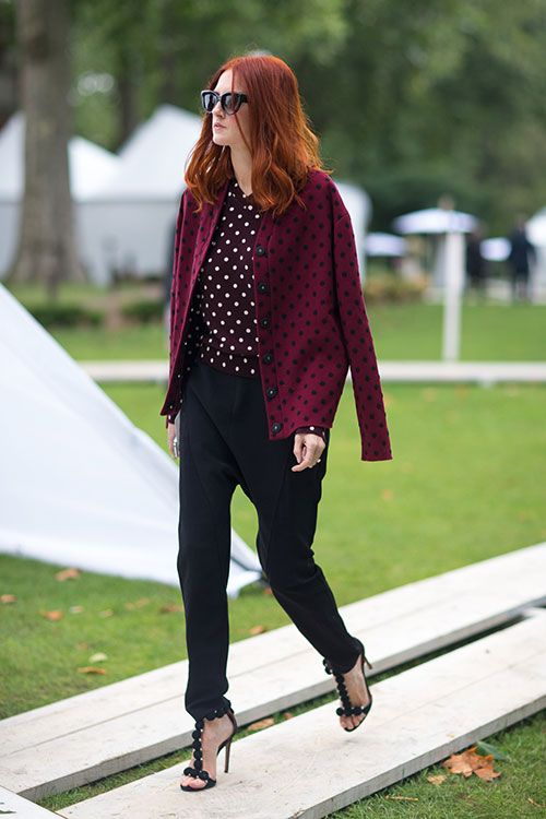 Taylor Tomasi Hill - head to toes polka dots. Street Style: London Fashion Week Street Spring 2014