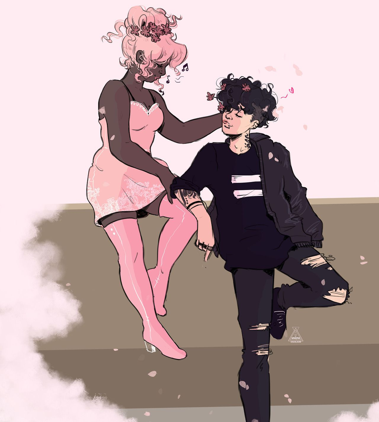 =a goth butch and her girlfriend decorating her hair with flowers=  COMMISSIONS STORE