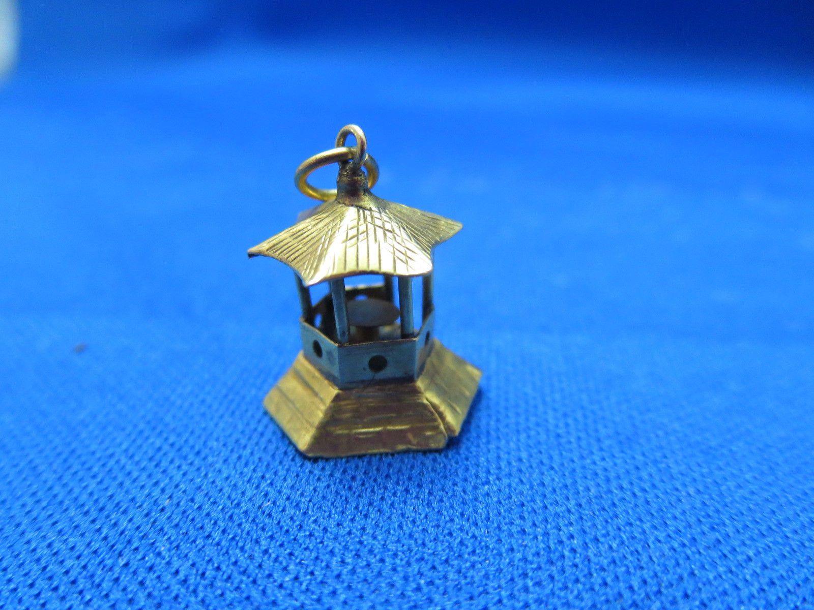 14k Yellow Gold Chinese Pagoda Charm Pendant 15mm x 12mm 1 Gram Buddhist Worship | eBay..