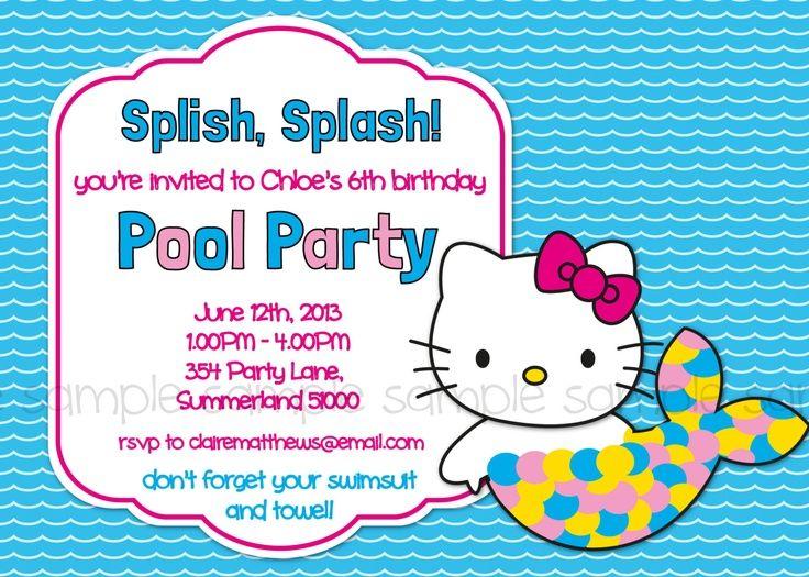 Hello Kitty Printable Pool Party Birthday Invitation Mermaid – Hello Kitty Birthday Party Invitations Printable