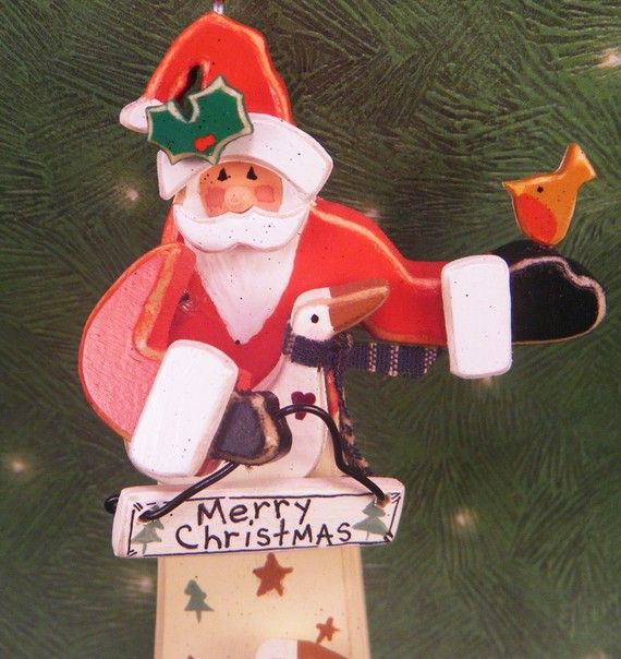 Santa Christmas Ornament by SnowTimeDelights on Etsy, $35.00