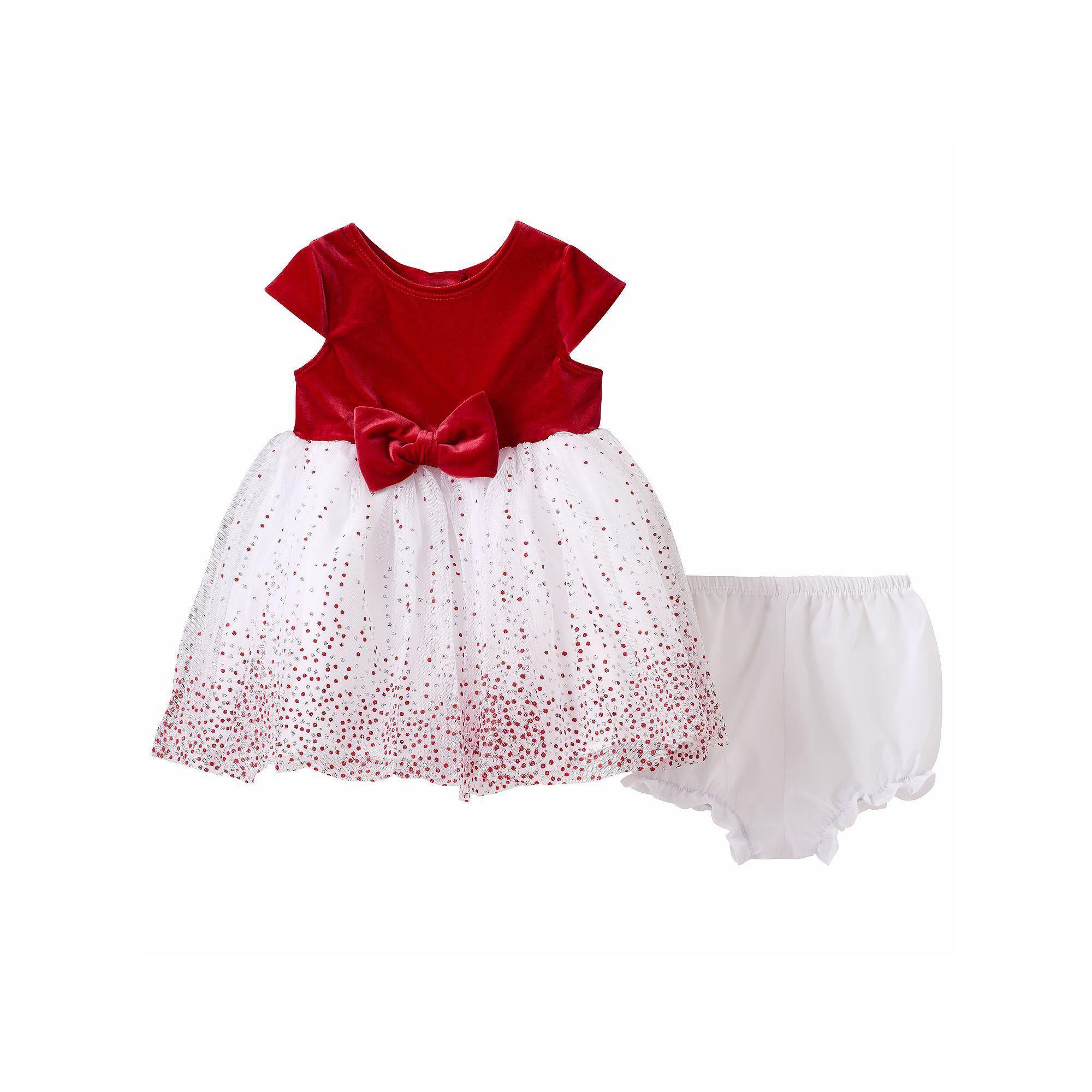 Baby Girl Marmellata Classics Glitter Dot Velvet Dress Red Other