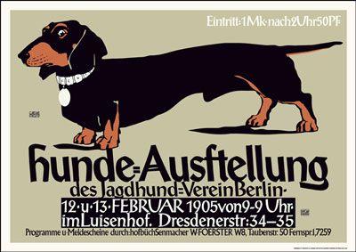 German Dachshund Exhibition Poster Dachshund Art