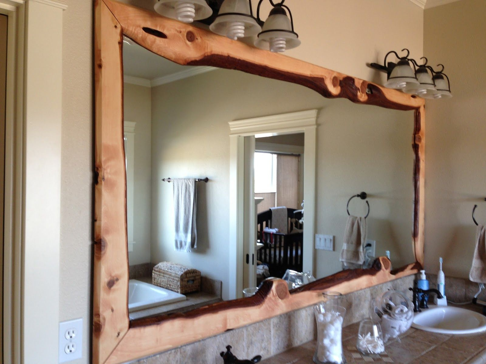 Bathroom interior rectangle wall mirror decor with rustic wooden frame and shaded wall lights framed mirrors for bathrooms