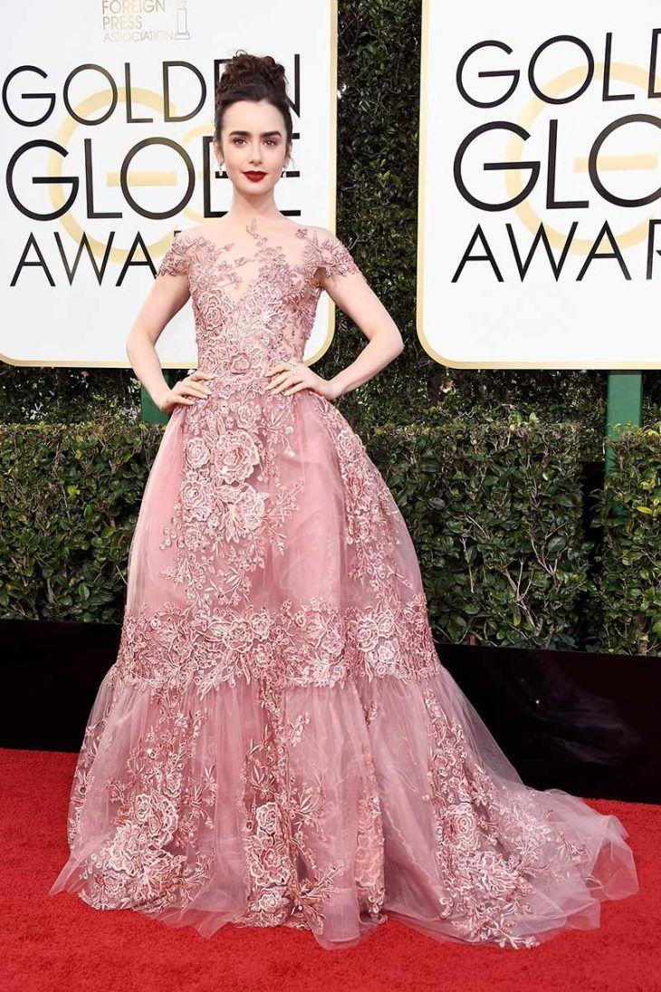 lily-collins-golden-globes-2017-vestido-rosa-formanda-madrinha ...