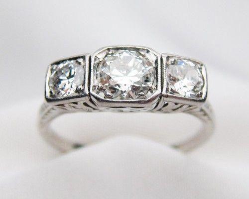 Photo of Art Deco Three-Stone Diamond Ring   Art Deco Diamond & Platinum Linear Ring