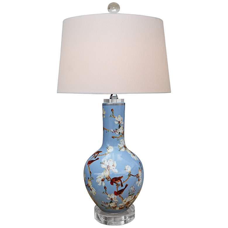 Birds And Cherry Blossoms Blue Porcelain Vase Table Lamp 9m013 Lamps Plus Vase Table Lamp Lamp Porcelain Vase