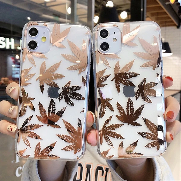 Transparent Electroplated Leaves Phone Case For iPhone 11 11 Pro X XR XS Max 7 8 6 6s Plus Gold Leaf Hard PC Back Cover|Fitted Cases