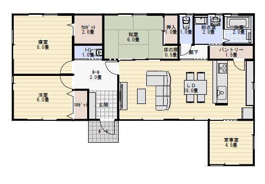 30坪 参考 家事室のある間取り 間取り 平屋住宅の間取り 30坪