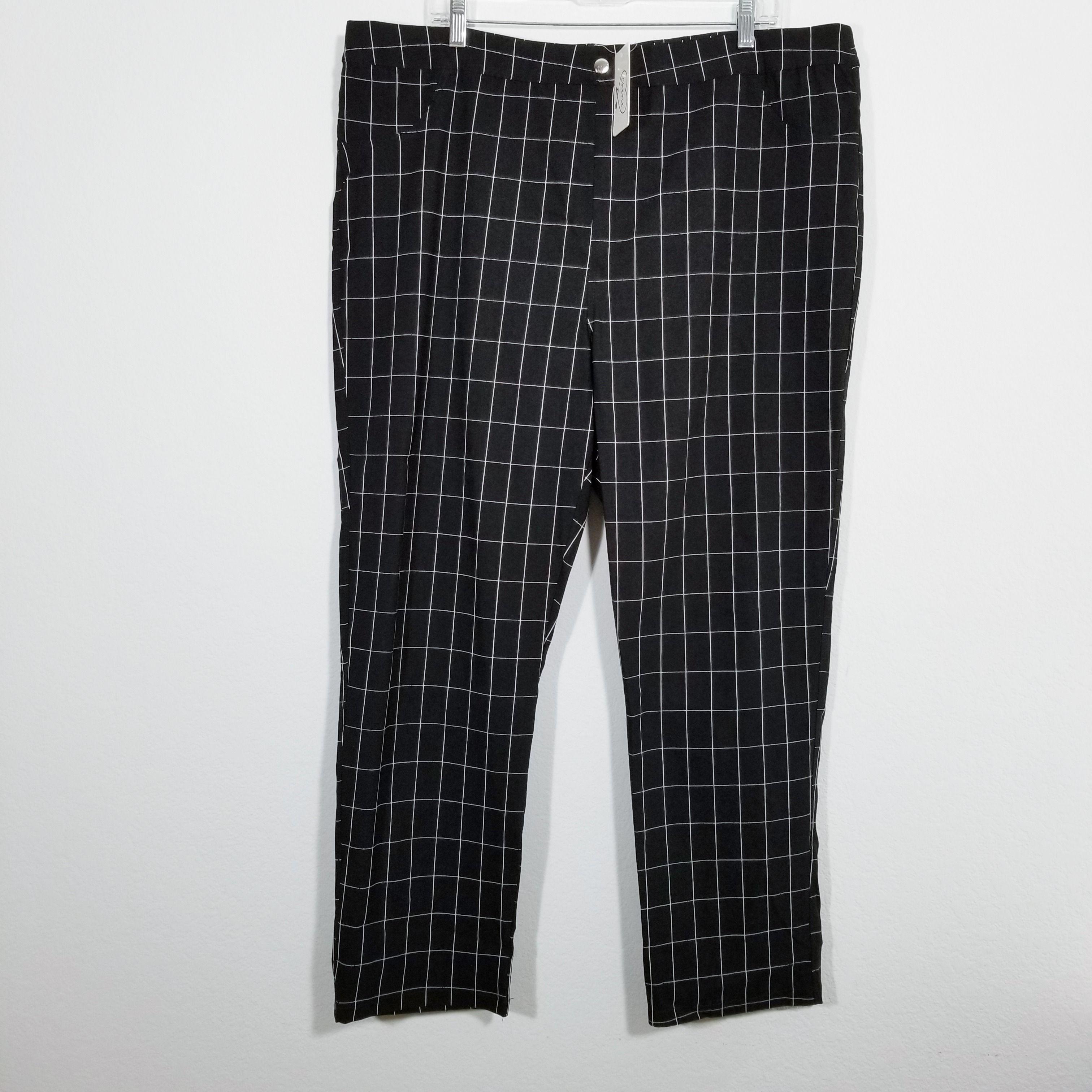 Cherie Womens Black Checked Stretch Dress Pants 3x Stretch Dress Pants Womens Stretch Dress Pants Womens Dress Pants [ 3024 x 3024 Pixel ]