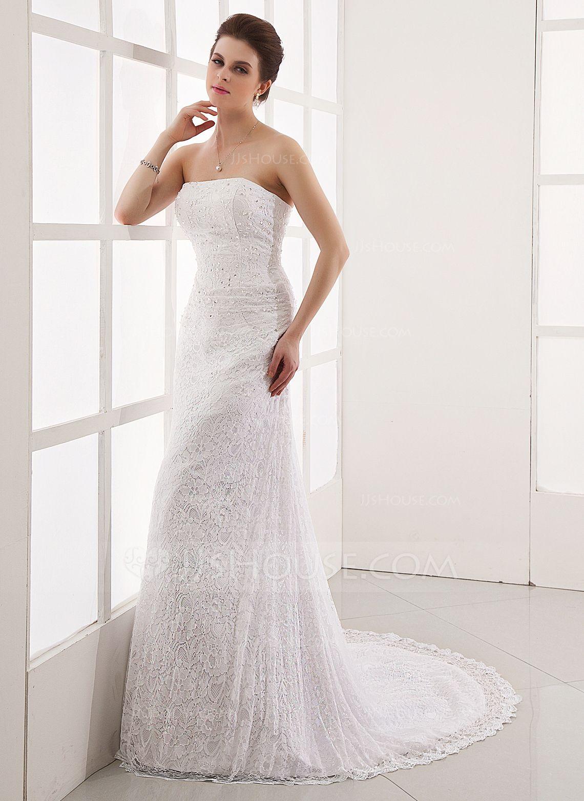 Alineprincess strapless court train lace wedding dress with